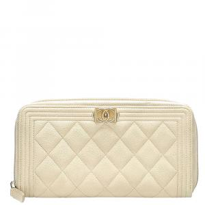 Chanel Cream Caviar Leather Boy Wallet