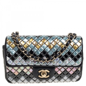 Chanel Black Leather New Mini Mosaic Embroidered Flap Bag