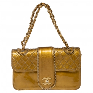 Chanel Gold Quilted Patent Leather Medium Madison Flap Bag