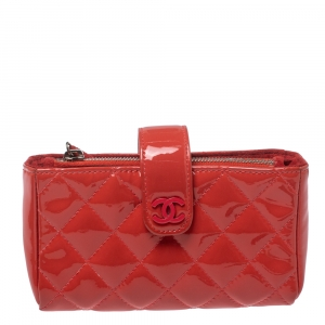 Chanel Coral Red Quilted Patent Leather CC Phone Holder Pouch