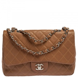 Chanel Tan Quilted Caviar Leather Jumbo Classic Single Flap Bag