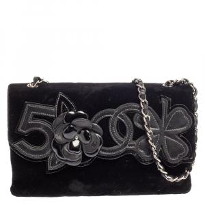 Chanel Black Velvet and Leather Camellia No.5 Shoulder Bag