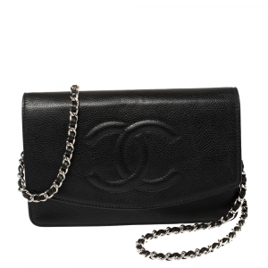Chanel Black Caviar Leather CC Timeless Wallet On Chain