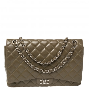 Chanel Crocodile Green Quilted Caviar Leather Maxi Classic Double Flap Bag