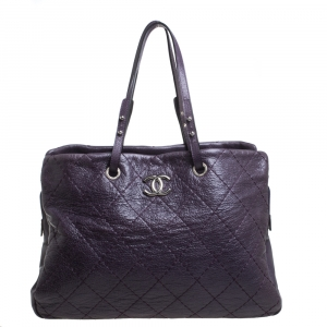 Chanel Purple Quilted Leather Large On the Road Tote