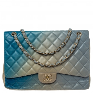 Chanel Blue Ombre Quilted Leather Maxi Classic Single Flap Bag