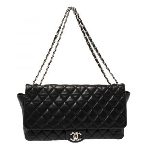 Chanel Black Quilted Lambskin Leather Maxi Coco Rain Single Flap Bag