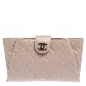 Chanel Old Rose Caviar Leather Coco Pleats Clutch
