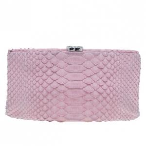 Chanel Pink Python Clutch