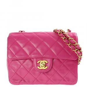 Chanel Pink Quilted Leather Classic Square Mini Flap Bag