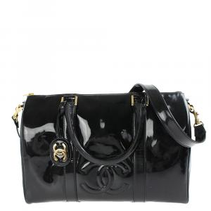 Chanel Black Patent Leather Vintage CC Boston Bag