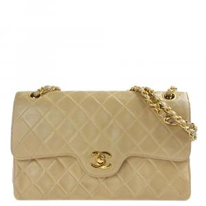 Chanel Beige Leather Double Flap Bag