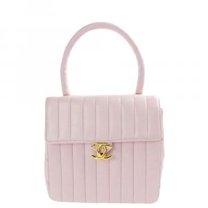 Chanel Pink Quilted Leather Vintage Kelly Top Handle Bag