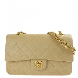 Chanel Beige Leather Classic Flap Bag