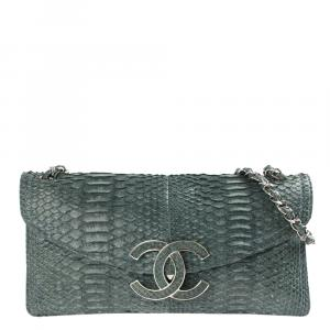 Chanel Green Python Leather Sensual CC Clutch Bag