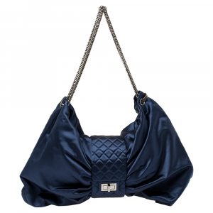 Chanel Blue Satin 2.55 Reissue Ribbon Shoulder Bag