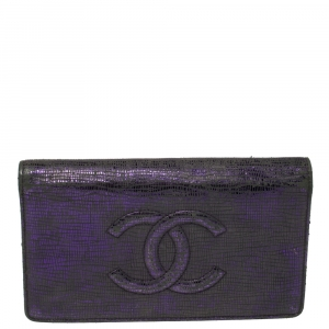 Chanel Metallic Purple Leather CC Bifold Wallet