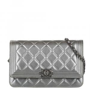 Chanel Silver Caviar Leather Medium Boy Shoulder Bag