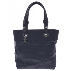Chanel Black Leather Paris Biarritz Tote PM Bag
