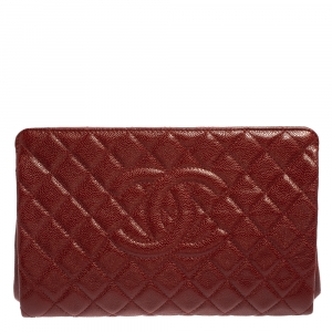 Chanel Dark Red Quilted Caviar Leather CC Jumbo Clutch