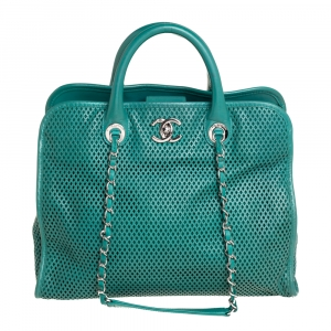 Chanel Green Perforated Leather Up In The Air Tote