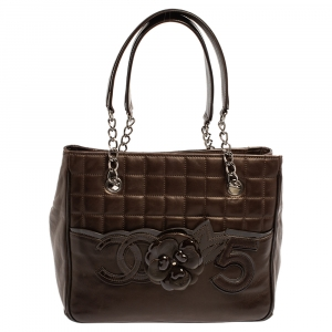 Chanel Brown Leather Chocolate Bar Camellia No. 5 Tote