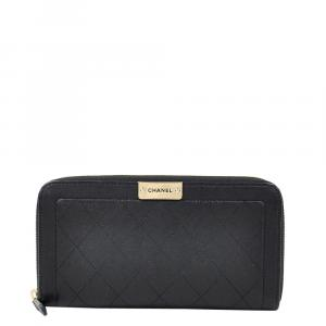 Chanel Black Leather Zip Around Wallet
