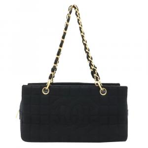 Chanel Black Chocolate Bar Canvas Leather Tote Bag