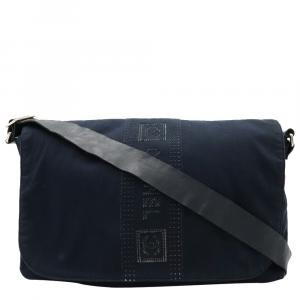 Chanel Navy Blue Cotton Leather Sports Line Shoulder Bag