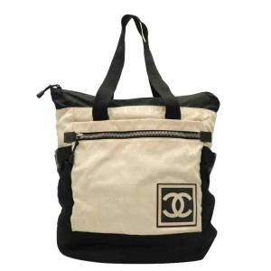 Chanel Black/Ivory Canvas Travel Line Backpack