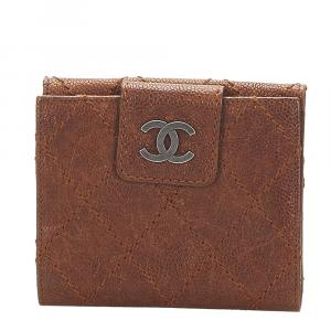 Chanel Brown Wild Stitch Leather Small Wallet