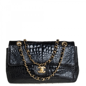 Chanel Black Alligator Small Vintage Classic Single Flap Bag