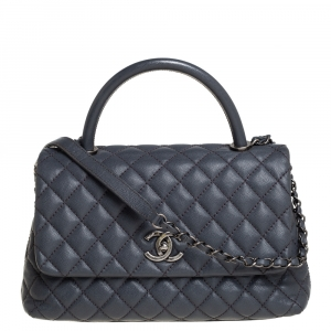 Chanel Grey Quilted Caviar Leather Medium Coco Top Handle Bag