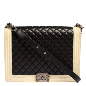 Chanel Beige/Black Quilted Leather Large Boy Flap Bag