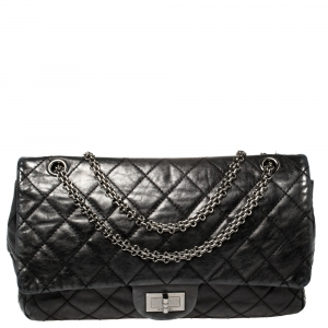 Chanel Metallic Black Quilted Leather Reissue 2.55 Classic 227 Classic Flap Bag