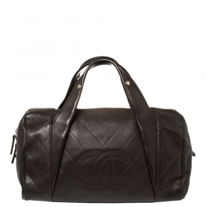 Chanel Dark Brown Chevron Leather Medium All Day Long Bowler Bag