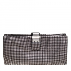 Chanel Metallic Grey Perforated Leather CC Foldover Clutch