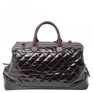 Chanel Maroon Quilted Caviar Leather Vintage Duffle Bag