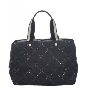 Chanel Black Nylon Old Travel Line Travel Bag