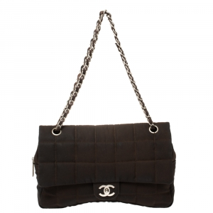 Chanel Brown Nylon Chocolate Bar East West Flap Bag