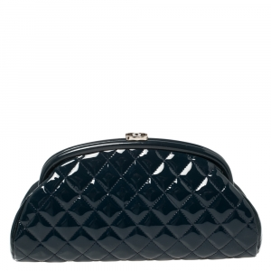 Chanel Ocean Blue Quilted Patent Leather Timeless Clutch Bag