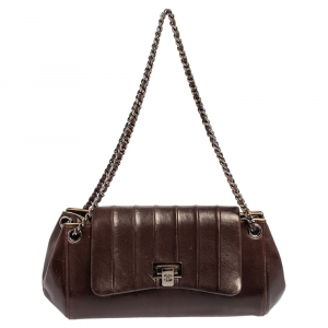 Chanel Dark Brown Leather Accordion Flap Bag