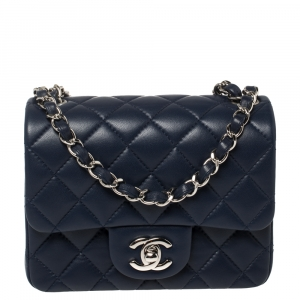 Chanel Navy Blue Quilted Lambskin Leather Mini Square Flap Bag