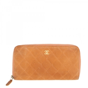 Chanel Orange Quilted Caviar Suede CC Zip Around Wallet