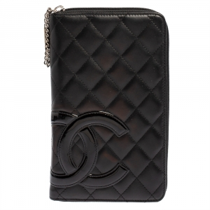 Chanel Black Quilted Leather Cambon Ligne Zippy Organizer Wallet