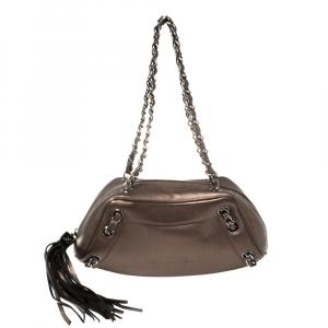 Chanel Metallic Leather Tassel Baguette Bag