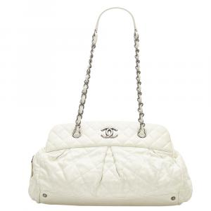 Chanel White Lambskin Leather CC Shoulder Bag