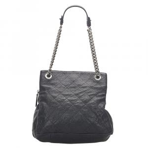 Chanel Black Matelasse Caviar Leather Tote Bag