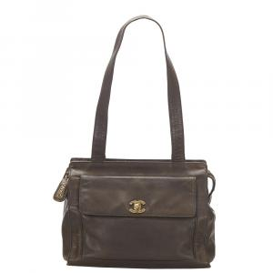 Chanel Brown CC Lambskin Leather Shoulder Bag