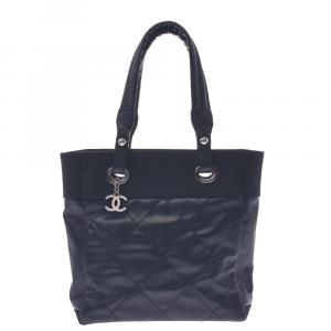 Chanel Black Leather Paris Biarritz Tote Bag
